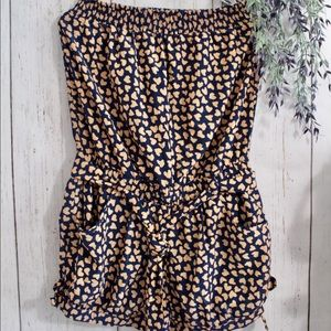 Forever 21 Strapless Romper with Heart Print